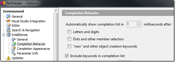Completion Behavior
